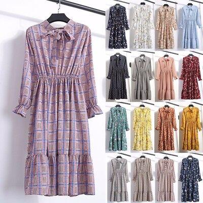 Women's Vintage Boho Floral Long Sleeve Ladies Casual Party Knee Skirt Dress