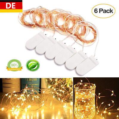 2M 20 LEDs Kupferdraht Lichterketten Batterie Weihnachtsleuchte Warmweiß 6er Set 2 Weiße Leds Batterien