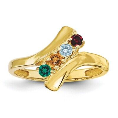 14k Gold Family Birthstone Ring (Birthstone Family Ring 14K Solid Gold 1 to 5 Round Stones, Mother Day)