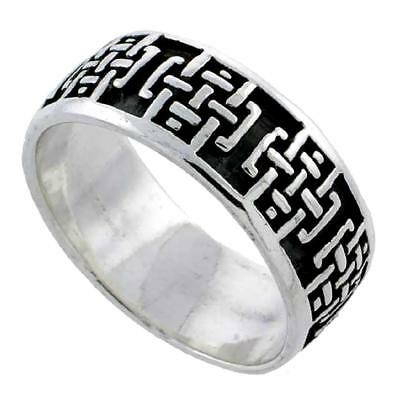 Celtic Pattern Sterling Silver Ring (Sterling Silver Celtic Cross Pattern Wedding Band / Thumb Ring )