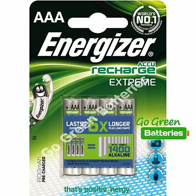 4 x Energizer AAA EXTREME Rechargeable Batteries 800 mAh Pre Charged NiMH LR03