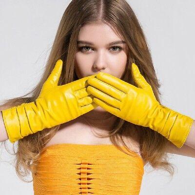 Winter Long Genuine Leather Gloves Women Fall Red Warm Girls Goatskin Mittens - Girls Red Gloves