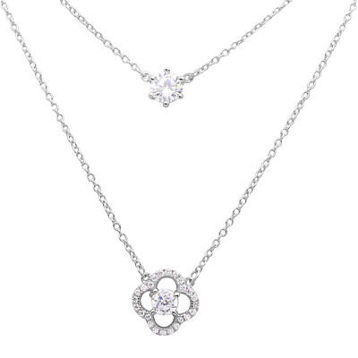 DOUBLE CHAIN OPEN FLOWER  NECKLACE W/ LAB DIAMONDS / 925 STERLING SILVER/ 18