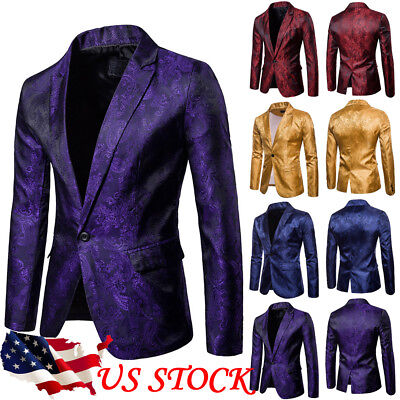 US Men's Casual Slim Fit One Button Suit Blazer Coat Jacket Tops M L XL XXL - Xxl Suits