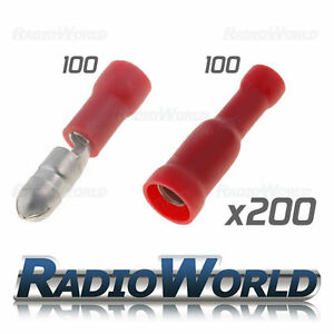 200x-Mixed-Insulated-Red-Bullet-Terminals-Splice-Connector-Crimp-Electrical