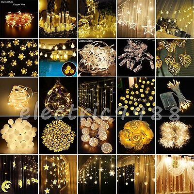 Warm White Christmas Fairy String Lights Wedding Xmas Party Outdoor Decor Lamp