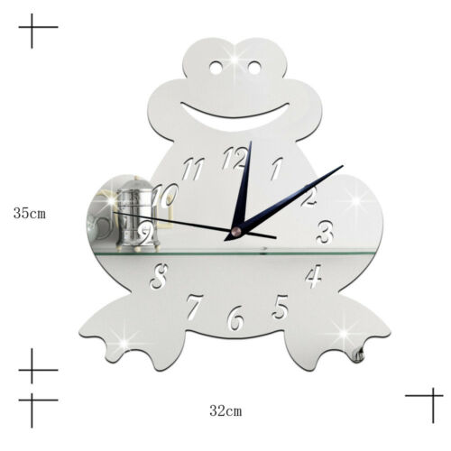 3D Silent Wall Clock Cartoon Frog Mirror silver