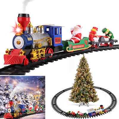 Electric Christmas Train Tracks Set Kids Toy Gift Lights Sounds Smoke Under Tree