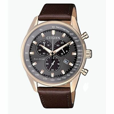 Citizen Eco-Drive Men's Grey Dial Chronograph Leather Band 40mm Watch AT2393-25H