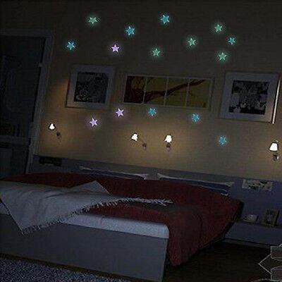 100Pcs Glow In The Dark Star Wall Ceiling Luminous Toy Room Nursery Decor Useful
