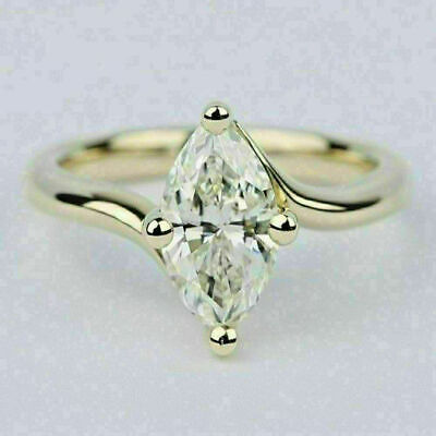 1Ct Marquise Cut VVS1/D Diamond Solitaire Engagement Ring 18K White Gold Finish