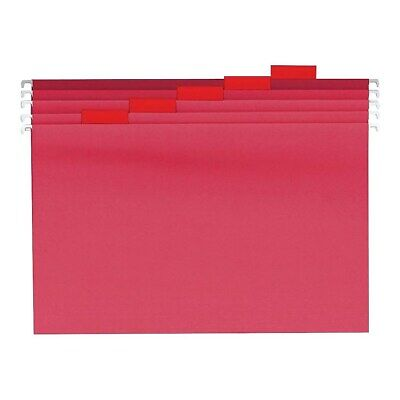 Staples Reinforced Hanging File Folders 5-tab Letter Size Red 25bx 863738