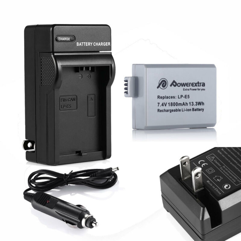 LP-E5 LPE5 Battery +Charger For Canon Rebel T1i XS XSi EOS 500D 1000D Kiss X2 X3