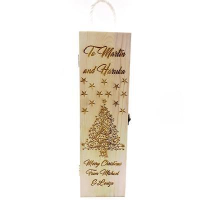 Personalised Gorgeous Christmas Wine Bottle Holder Wooden Box, Gift STO025-7