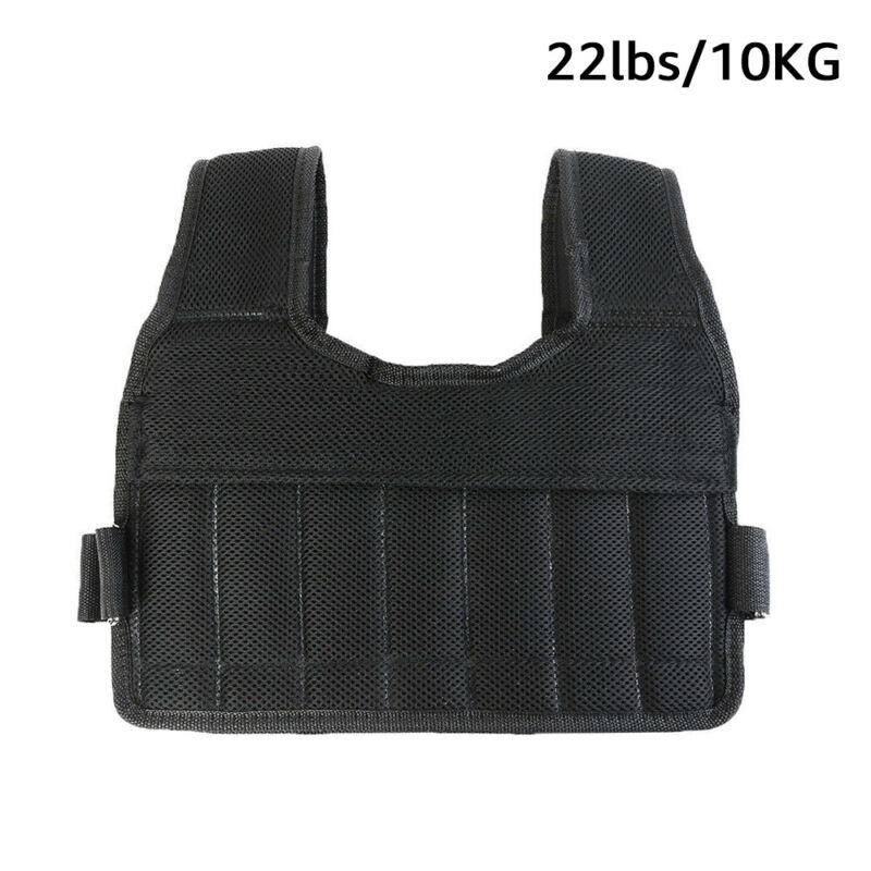 Weighted Vest 22Lbs Adjustable Multi Pockets Fitness Training Workout Jacket