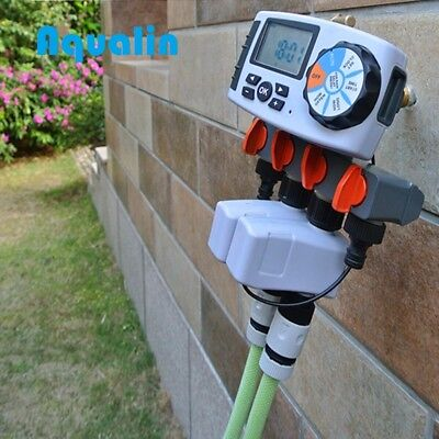 Automatic 4-Zone Irrigation System Watering Timer Garden Controller + 2 Solenoid