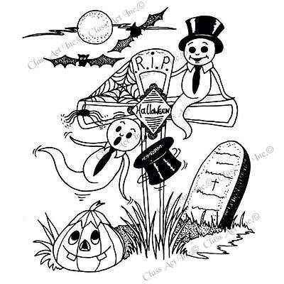 HALLOWEEN RIP Ghost Bats Cling Unmounted Rubber Stamp Class Act Inc HA201L - Class Halloween Crafts