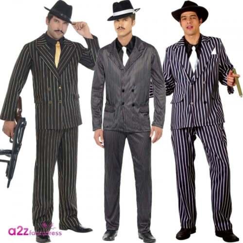 Mens Gangster Costume Pinstripe Hat Adult Mafia 1920u0027s 20s Zoot Suit Fancy Dress  sc 1 st  eBay & Mens Gangster Costume Pinstripe Hat Adult Mafia 1920u0027s 20s Zoot Suit ...