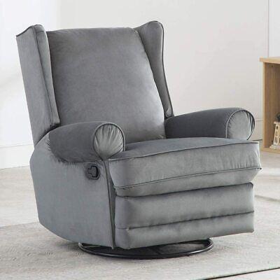 Swivel Rocker Recliner Glider Manual Chair Sofa Overstuffed Seat Lounge Armrest Fabric Swivel Chair