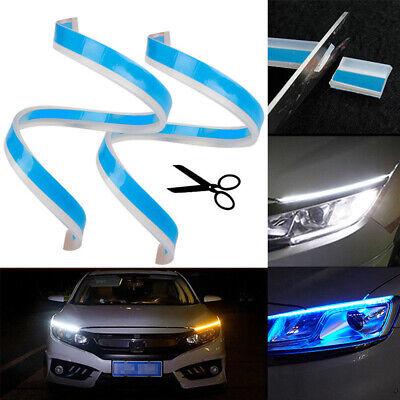 2Pcs White / Ice Blue & Amber Flexible LED Streifen Tagfahrlicht Blinker Flexibles Licht