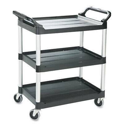 Rubbermaid Economy Plastic Cart Three-shelf Black 342488bla New