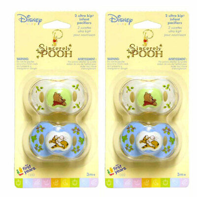 4 Sincerely Disney Baby Infant WINNIE THE POOH Pacifiers 3+ Mo Blue White NEW