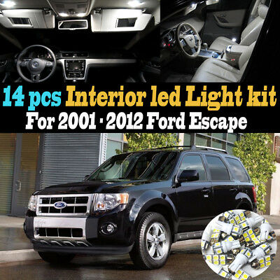 14Pc Super White Car Interior LED Light Kit Package for 2001-2012 Ford Escape