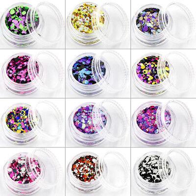 Konfetti Glitter Glitzer Puder Pailetten Dots Nailart Schwarz Pink Lila #00907