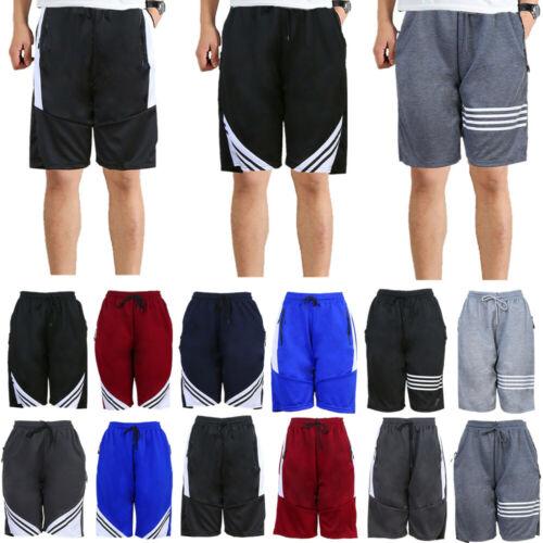 Men Mesh Shorts Basketball Sport Active Casual Pants With Zipper Pockets