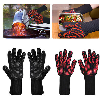 932°F Silicone Extreme Heat Resistant Cooking Oven Mitt BBQ Hot Grilling Gloves -