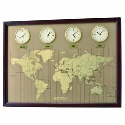 Seiko Multi Time World Map Wooden Clock QXA722B NEW
