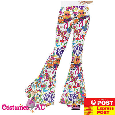 Disco Chick Costume (Womens 60s Retro Hippie Hippy Disco Groovy Chick Trousers Flared Pants)