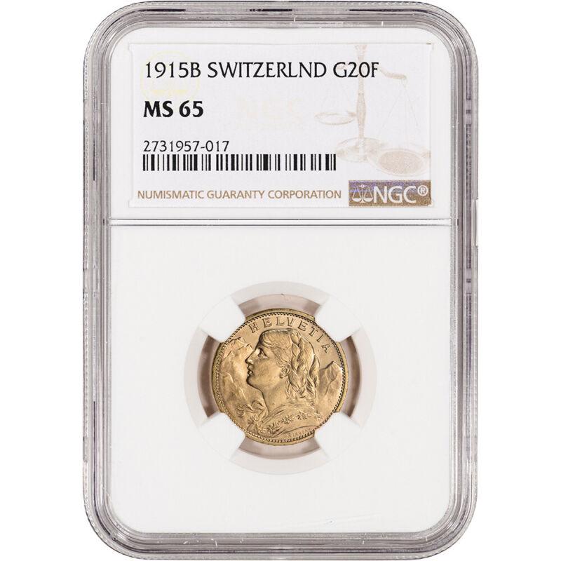1915 B Switzerland Gold 20 Francs - NGC MS65