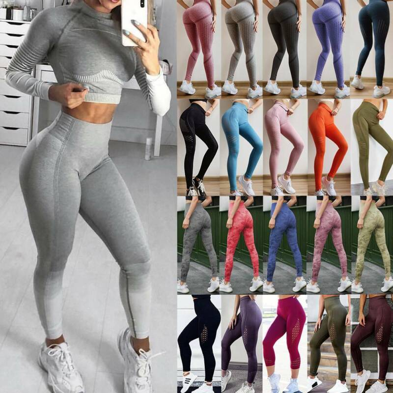 Women High Waist Sports Yoga Pants Leggings Printed Fitness Gym Stretch Trousers 11