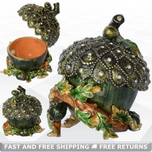 Acorn Nut Vintage Trinket Box Hinged Lid Enamel Jeweled Rhinestone Ring Storage
