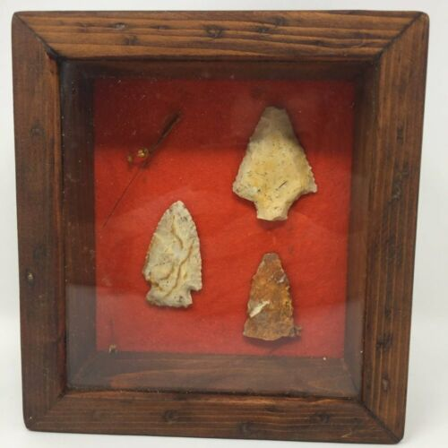 Framed Arrowheads Native American Art Shadow Box Wooden Frame Red Small Box