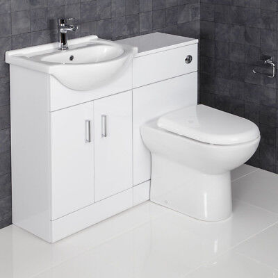 1050mm Toilet and Bathroom Vanity Unit Combined Basin Sink Furniture Gloss White
