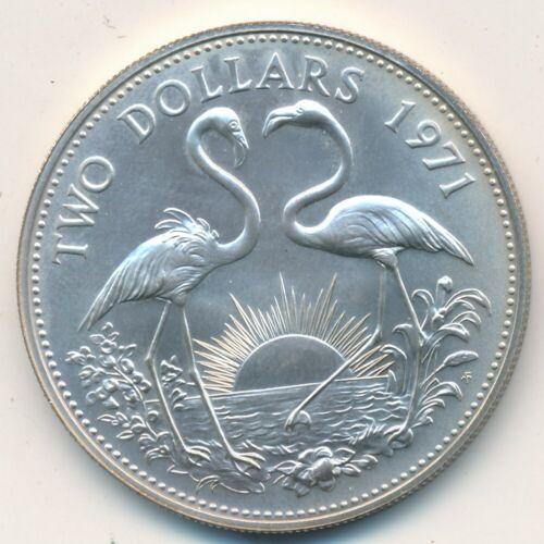 1971 BAHAMA ISLANDS SILVER TWO DOLLAR $2 COIN-BEAUTIFUL UNCIRCULATED-SHIPS FREE!