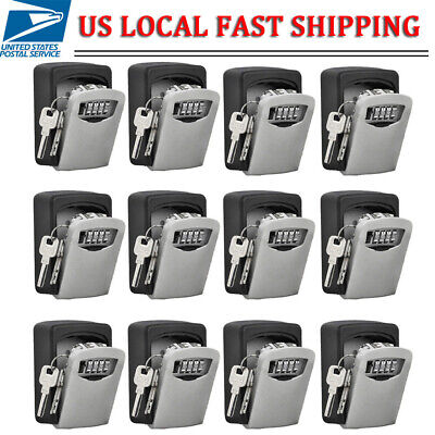 12510 4 Digit Combination Key Lock Box Wall Mount Home Security Storage Case