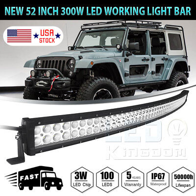 """300W 52"""" Curved Work LED Light Bar Fog Driving DRL SUV 4WD Boat Truck Off-road"""