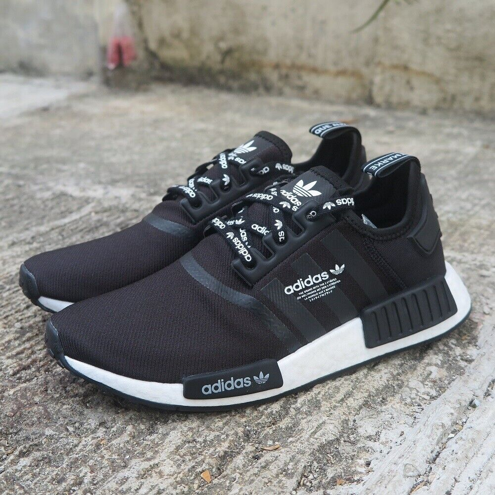 adidas Originals NMD R1 Logo Men's Shoes Lifestyle Comfy Sneakers BlackWhite