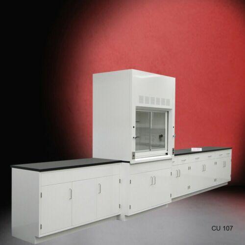 4 ft Fisher American Fume Hood w/ Storage & 15 ft Laboratory Cabinets / E1-044