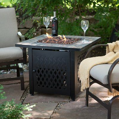 Endless Summer Slate Mosaic Propane Fire Pit Table with FREE Cover, (Mosaic Fire Pit Table)