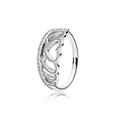Hearts Stackable (New Authentic Pandora 925 Silver Hearts Tiara Stackable Ring 190958CZ Size)