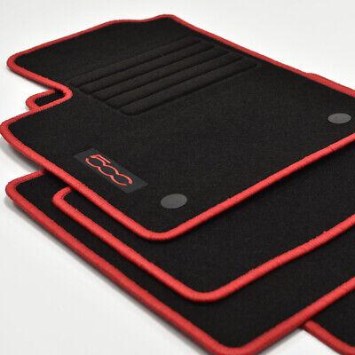 500 Cabrio ab Bj.2013 Velours Fußmatten 4-teilig Edition rot für Fiat 500