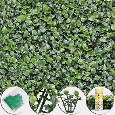 24pcs Artificial UV Boxwood Mat Wall Hedge Decor w/ Ties Grass Fake Fence 10x10""