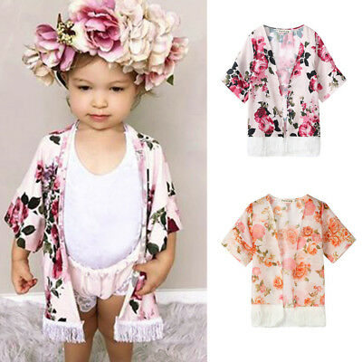 Toddler Baby Girls Flower Tassel Kimono Shawl Cardigan Tops Outfits Set](Toddler Kimono)
