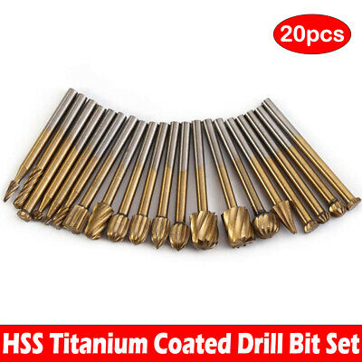 20x Hss Carbide Burr Set Rotary Drill Bits Die Grinder Carving Engraving Tools
