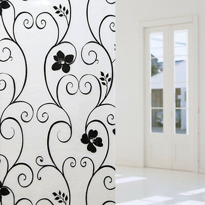 Frosted Privacy Decor Stickers Home Glass Stickers Flower Black&white Wrought