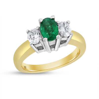 1.35 Ct. Natural Emerald & Diamond Oval Shape Three Stone Ring Solid 14k Gold
